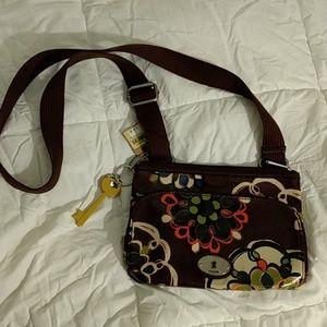 Fossil NWT oil cloth crossbody purse